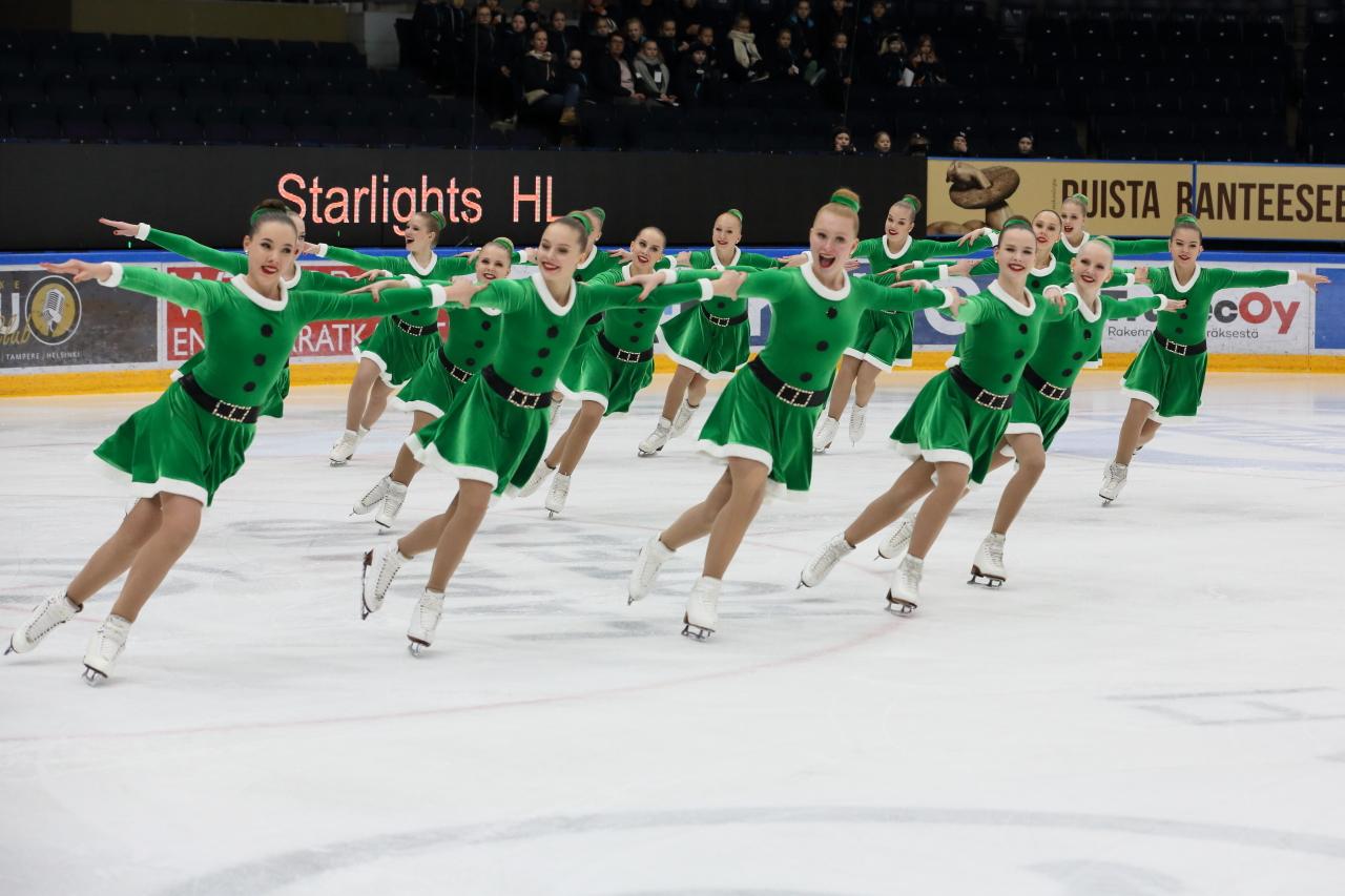 Helsingin Luistelijoiden Starlights vei voiton The Grinch -ohjelmallaan SM-noviisien 1. lohkossa.