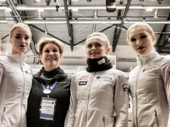 Oona Ounasvuori, Nuriya Pirogova, Emmi Peltonen ja Jenni Saarinen PM-kilpailuissa Stavangerissa.