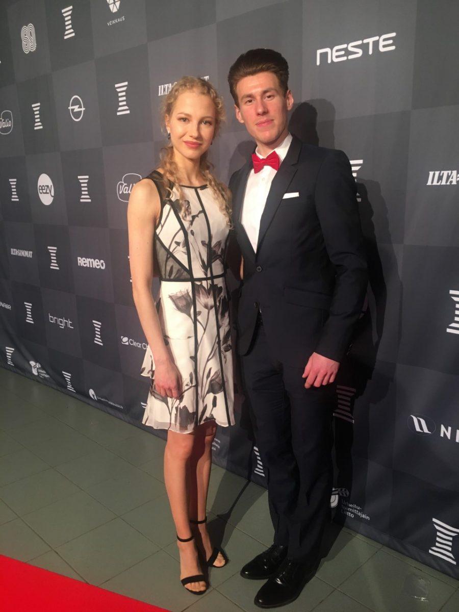 Juulia Turkkila ja Matthias Versluis edustivat tyylikkäinä Urheilugaalassa tammikuussa.