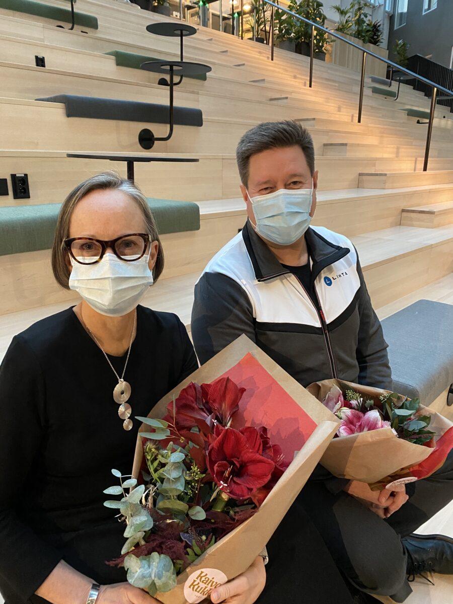 Laura Raitio ja Janne Korhonen Suomen Taitoluisteluliiton syyskokouksessa 2020.