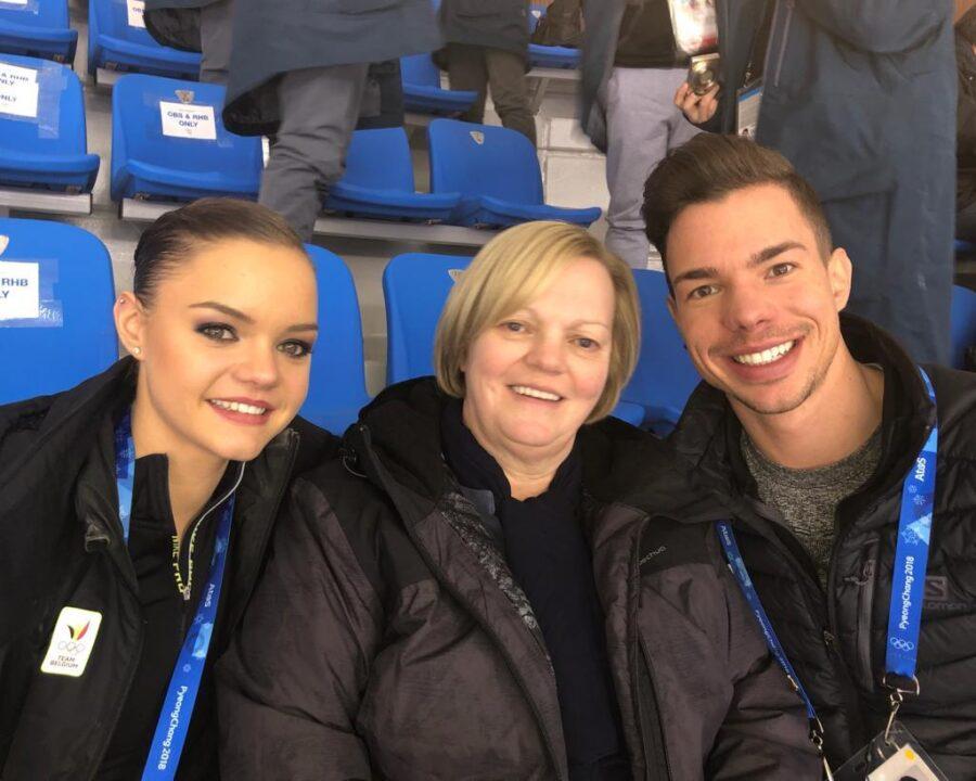 Loena ja Jorik Hendrickx Pyeongchangin talviolympialaisissa 2018 äitinsä Lutgart Lemantsin kanssa.